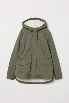 H&M Parka with Faux Fur Lining - Green