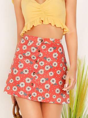 Shein Single Breasted Daisy Flower Print Skirt