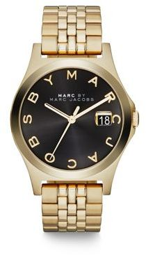 Marc by Marc Jacobs Henry Slim Goldtone Stainless Steel Bracelet Watch/Black $250 thestylecure.com