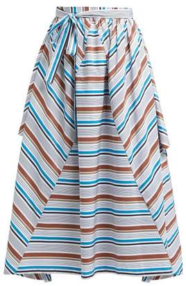 Isa Arfen Cesenatico Striped Cotton Skirt - Womens - White Multi