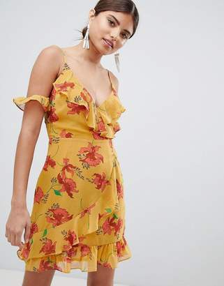 Missguided Cold Shoulder Floral & Polka Dot Dress