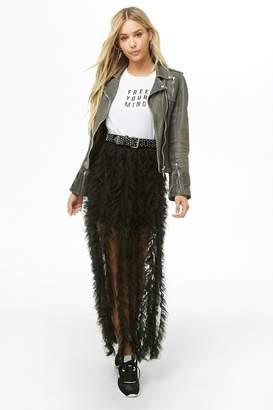 Forever 21 Ruffle Tulle Maxi Skirt