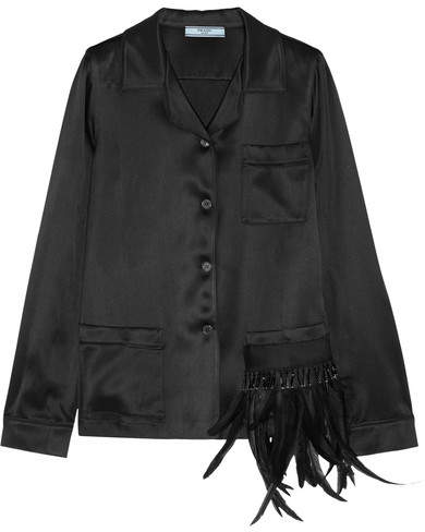 Prada - Embellished Feather-trimmed Satin Shirt - Black