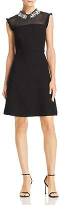 Sandro Amarillys Mesh-Detail A-Line Dress