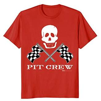 Skull Checke Flag Pit Crew Race Car T Shirt