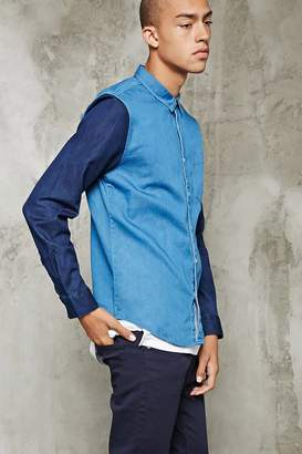 Forever 21 Colorblocked Chambray Shirt