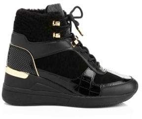 MICHAEL Michael Kors Living Shearling-Trim Leather Platform Wedge Ankle Boots