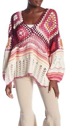 Free People Call Me Crochet Long Sleeve Top