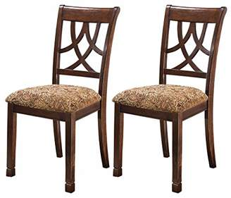 Signature Design by Ashley Ashley Furniture Signature Design - Leahlyn Dining Upholstered Side Chair - Pierced Splat Back - Set of 2 - Medium Brown
