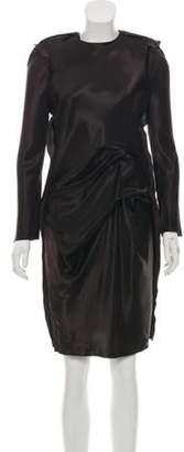 Lanvin Long Sleeve Knee-Length Dress brown Long Sleeve Knee-Length Dress