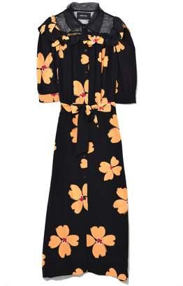 Simone Rocha Short Sleeve Scallop Trim Shirt Dress in Black/Clementine