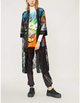 Mo&Co. Floral-lace and satin longline coat