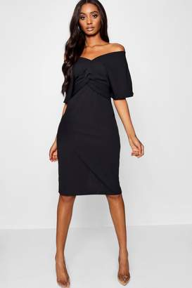 boohoo Twist Detail Kimono Sleeve Midi Dress