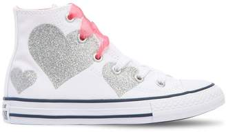 Converse Heart Printed Canvas High Top Sneakers