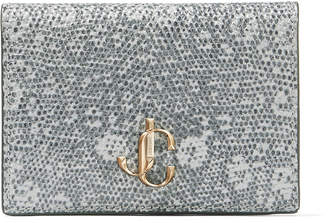 Jimmy Choo MYAH Porcelain Lizard Print Leather Bi-Fold Wallet