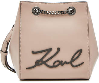 Karl Lagerfeld Paris Lagerfeld K/Signature Leather Bucket Bag