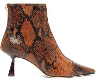 Jimmy Choo Kix 65 Python Effect Leather Boots - Womens - Tan Multi