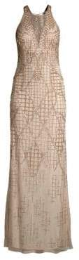 Aidan Mattox Sleeveless Beaded Halterneck Dress