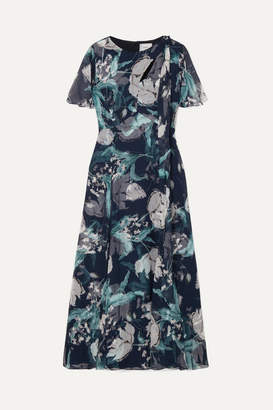 Erdem Kirstie Floral-print Silk-voile Midi Dress - Navy