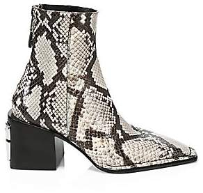 Alexander Wang Women's Parker Roccia Snake Print Embossed Leather Ankle Boots