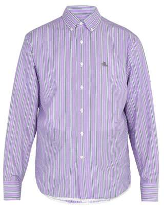 Lanvin Striped Cotton Shirt - Mens - Purple