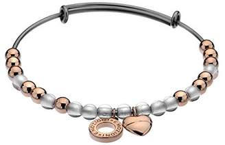 Hot Diamonds Emozioni by Rose Gold Plated White Glass Bead Bangle - Large