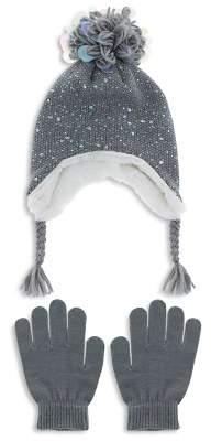 Capelli Girls' Iridescent Speckled Pom-Pom Hat & Gloves Set - Little Kid, Big Kid