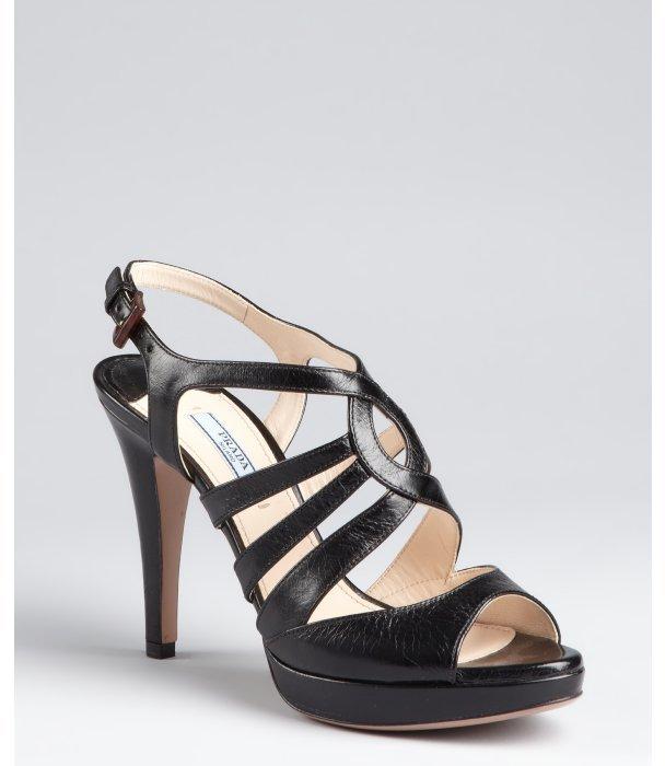 Prada black leather strappy sandals