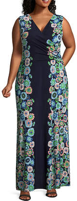 London Times Sleeveless Maxi Dress - Plus