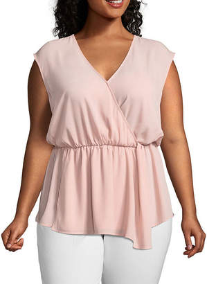 WORTHINGTON Worthington Sleeveless Faux Wrap Georgette Blouse -Plus