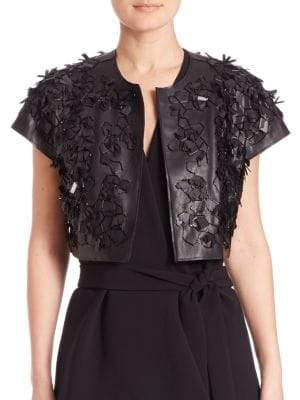Faux Leather 3D Bolero Jacket