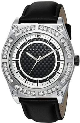 Sean John Men's 'Black Diamond' Quartz Metal and Leather Casual Watch