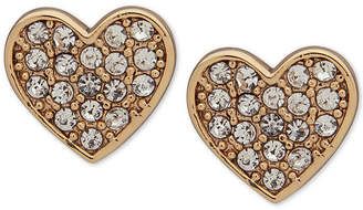 DKNY Gold-Tone Pave Heart Stud Earrings