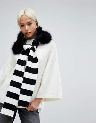 Urban Code Urbancode Stripe Knitted Scarf With Detachable Faux Fur Collar