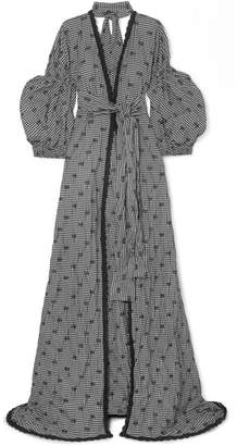 Jonathan Simkhai Lace-trimmed Smocked Gingham Poplin Gown - Black