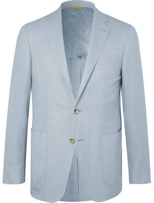 Canali Light-Blue Impeccabile Unstructured Wool-Hopsack Blazer