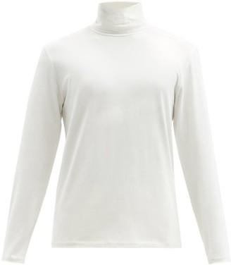 Jil Sander Roll Neck Cotton Blend T Shirt - Mens - White