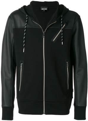 Just Cavalli zip up panelled hoodie