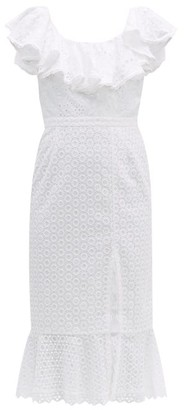 Saloni Ella Ruffled Cotton Broderie Anglaise Midi Dress - Womens - White