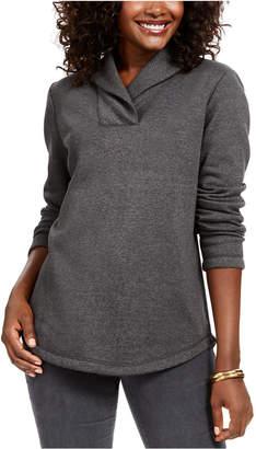 Karen Scott Shawl-Collar Fleece Pullover