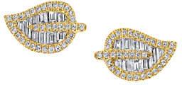 Anita Ko 18k Gold Small Diamond Leaf Earrings