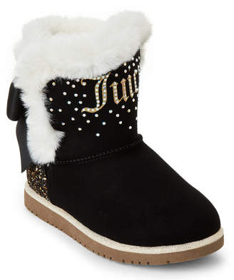 Juicy Couture Kids Girls) Black Burbank Faux Suede Boots