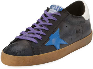 Golden Goose Men's Superstar Leather Low-Top Sneakers with Contrast Laces