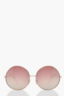 boohoo Rose Gold Oversized Round Sunglasses