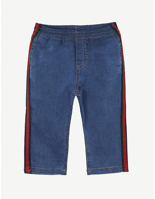 Gucci Web-striped denim jersey trousers 3-36 months