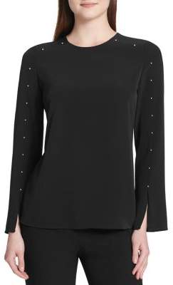 Calvin Klein Studded Long-Sleeve Blouse