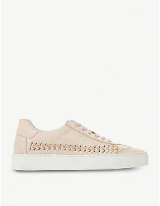 Dune Elurru woven-detail leather trainers