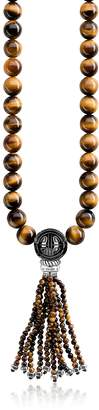Thomas Sabo Power Blackened Sterling Silver Necklace w/Tiger Eye and Obsidian Polished Beads & Tassel