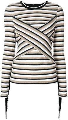 Marco Bologna Striped Fringes top