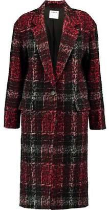 DKNY Leopard-Print Embossed Checked Twill Coat